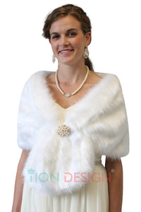 Faux fur shawl White, Wedding Fur stole, Bridal fur shrugs boleros wraps