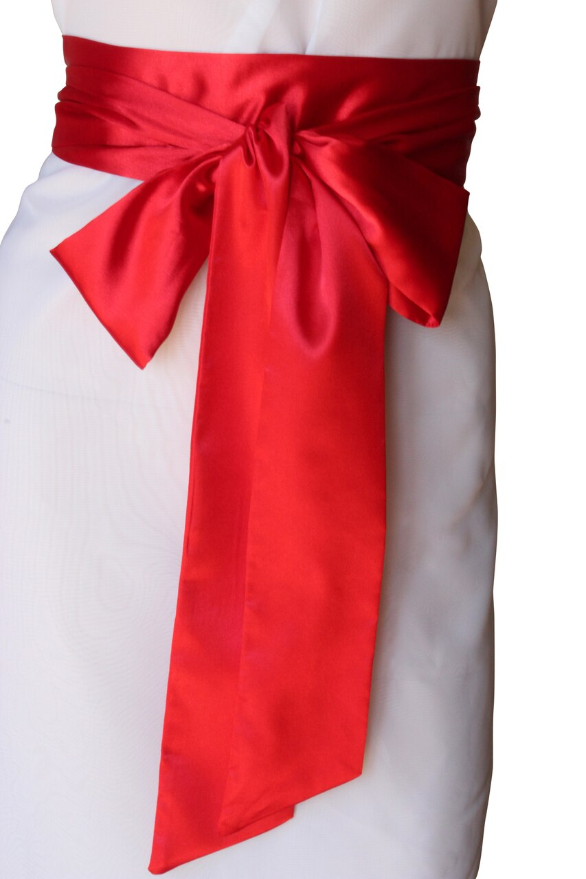 Bridal Satin Sash Red
