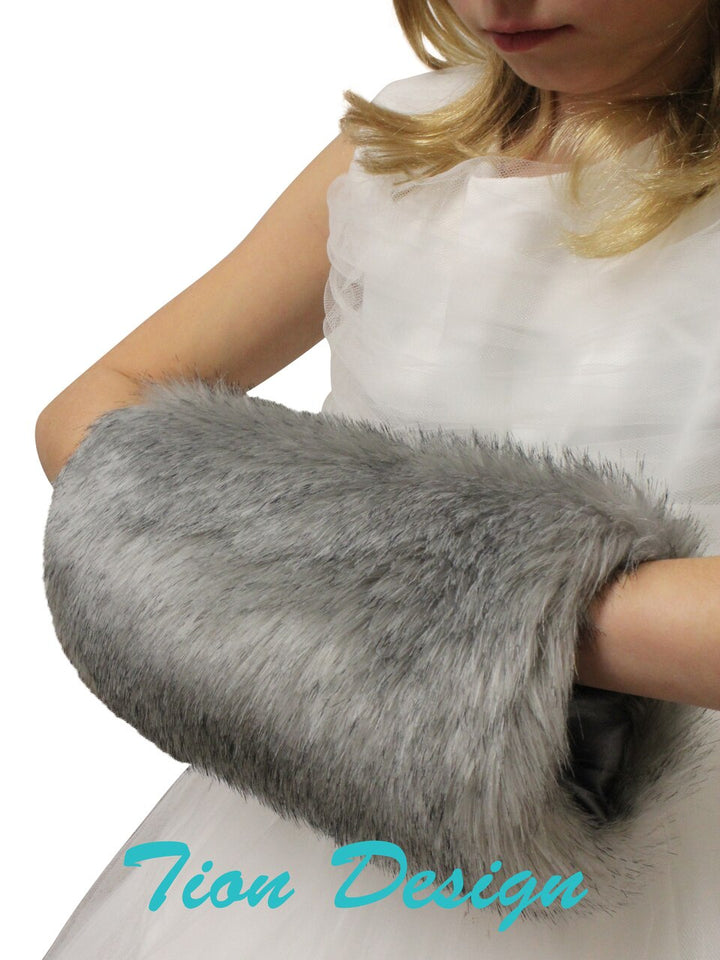 Grey faux fur handmuff Children, Winter handmuff. Bridal fur muff