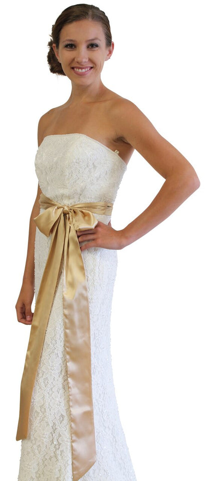 Bridal Satin Sash Gold