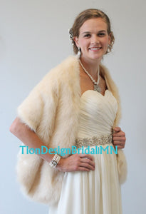 Bridal Stole, Faux fur stole Champagne, Wedding Fur Shawl