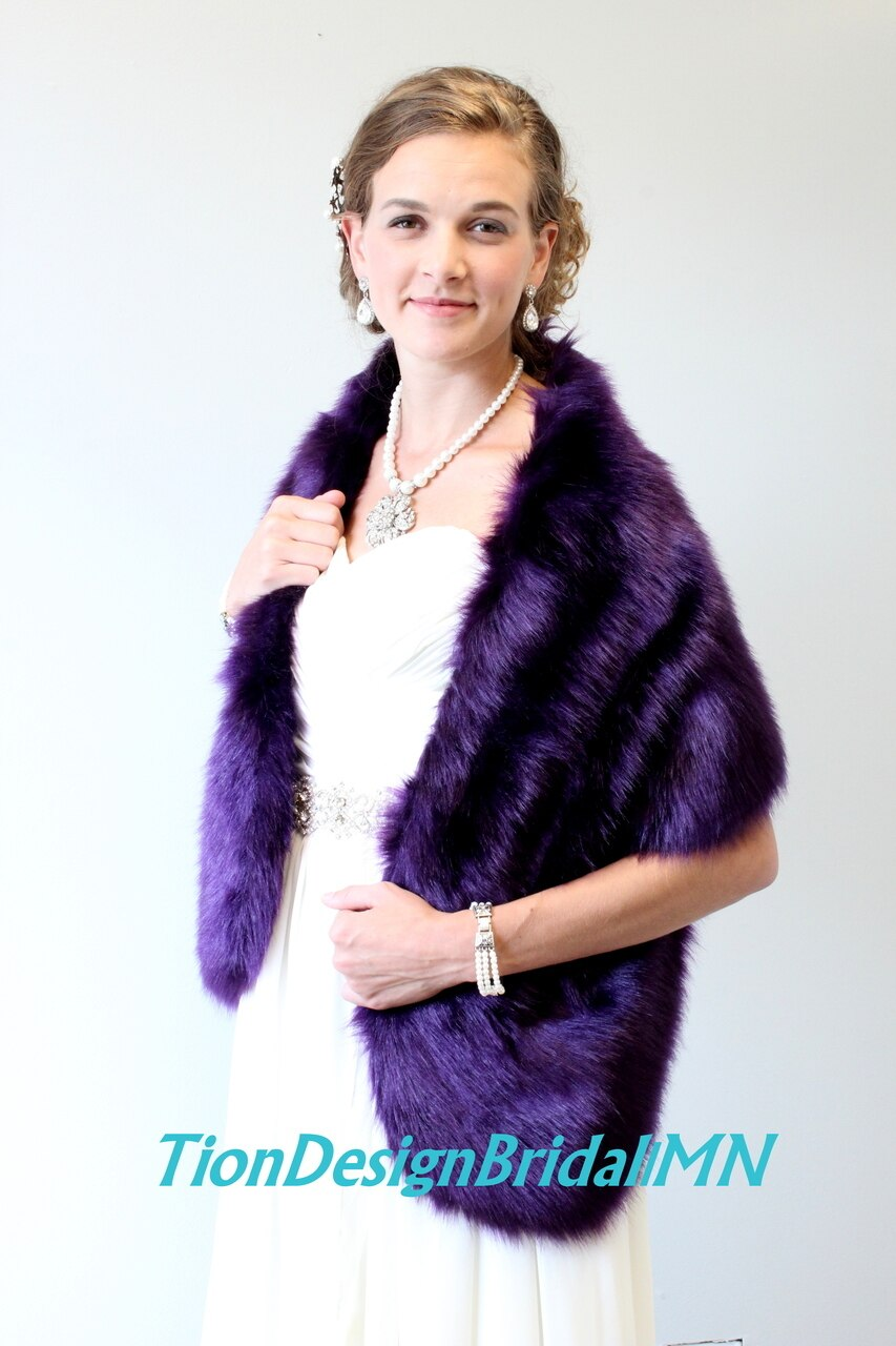 Bridal Stole, Faux Fur Purple, Wedding Shawl Faux Fur