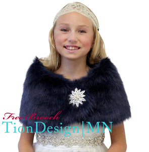 Navy Blue Faux Fur Wrap, Fur Stole, Fur Shawl Girls
