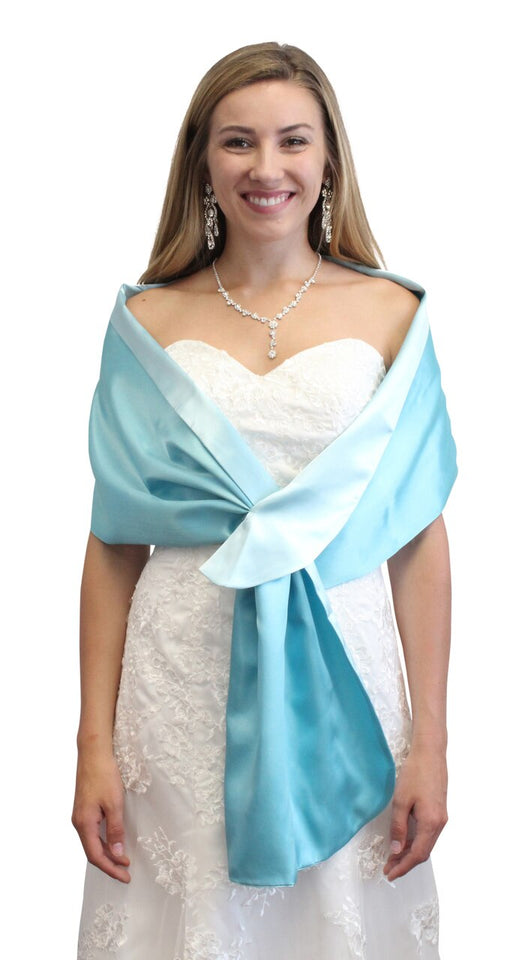 Aqua & Turquoise Reversible Satin Evening Wrap