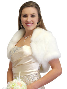 Ivory Bridal Faux Fur Bolero Jacket