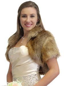 Vintage Brown Bridal Faux Fur Bolero Jacket
