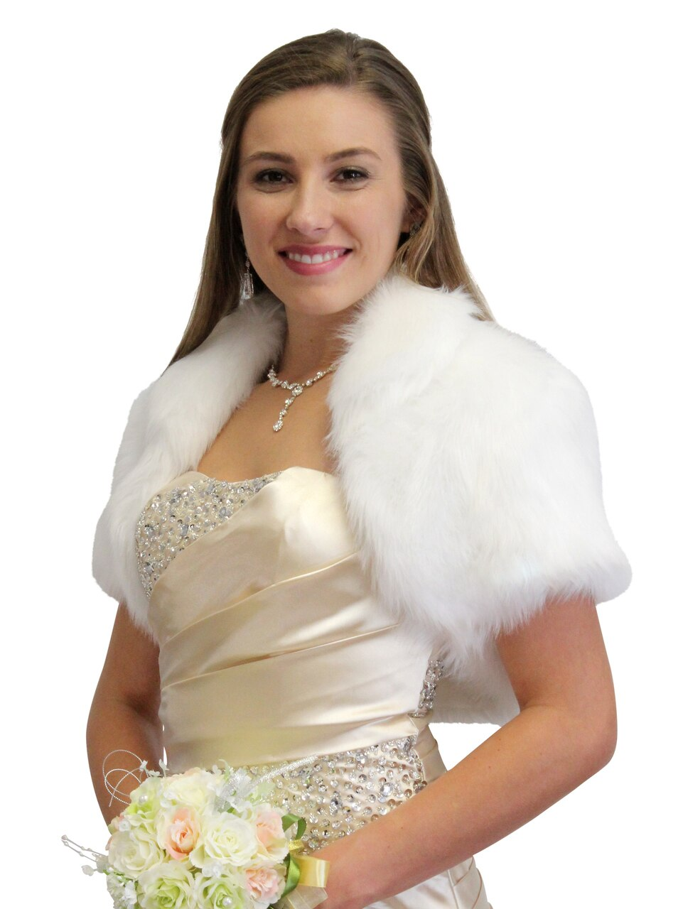 Bridal Faux Fur Bolero, Bridal Bolero Jacket Faux fur shrug, bridal shrug 680F-White
