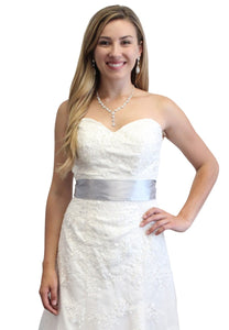 Bridal Satin Sash Gray
