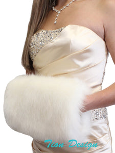 Ivory Faux Fur Handmuff for wedding, Winter bridal fur muff