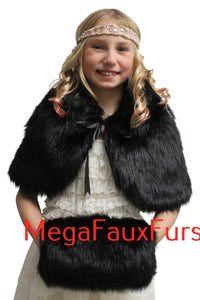 Black Faux Fur Hand Muff Fleece Lining for kids