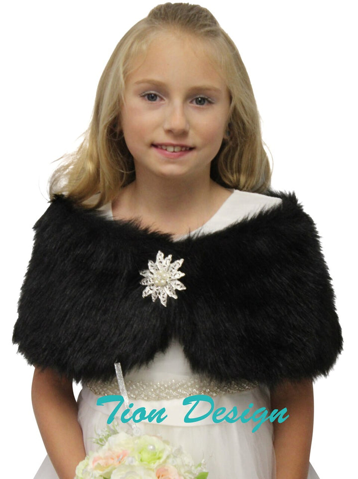 Bridal faux fur wrap Black for girls, kid fur shrug for Winter