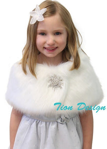 White Faux Fur Wrap Stole Kids