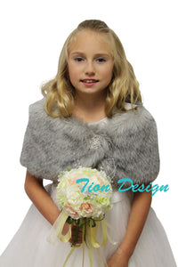 Bridal faux fur wrap Grey for girl, faux fur shrug and shawl