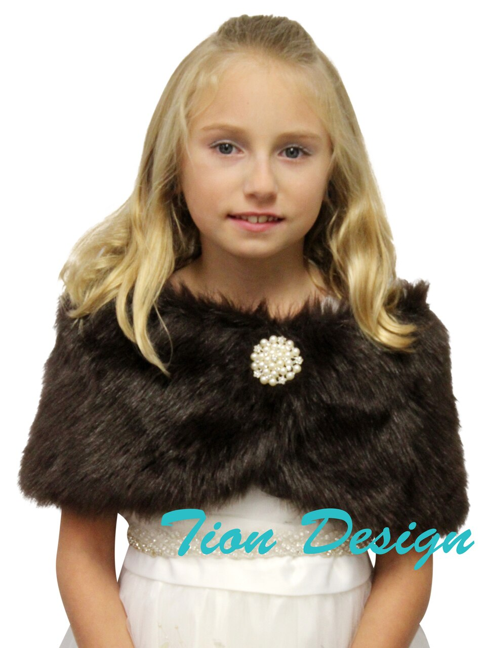 Brown Faux Fur Wrap, Bridal Fur Shrug, Fur Stole, Fur Shawl Girl