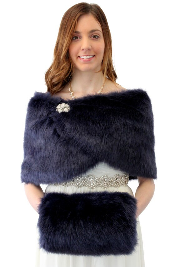 Navy Blue Faux Fur Wrap, Bridal Fur Shrug, Wedding Fur Stole, Fur Shawl