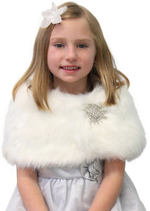 Ivory faux fur shawl for flower girls, wedding cape, fur wrap