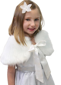 White faux fur shawl for flower girl, fur shrug cape for kid