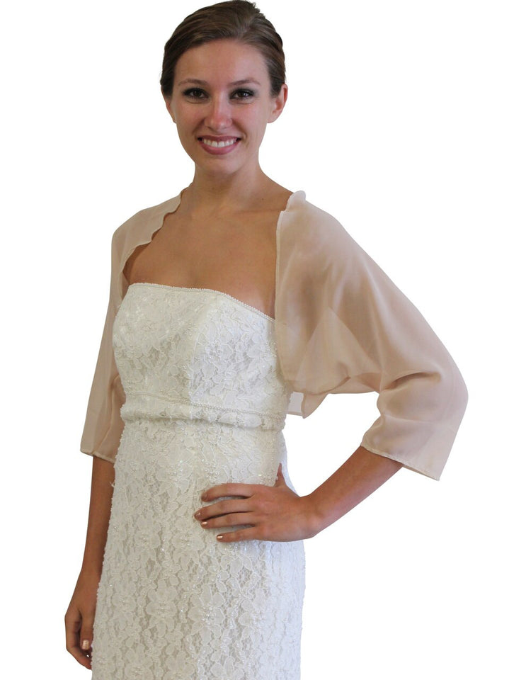 Champagne Chiffon Jacket, Champagne Wedding jacket