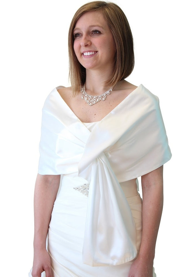Ivory-White Reversible Satin Evening Wrap