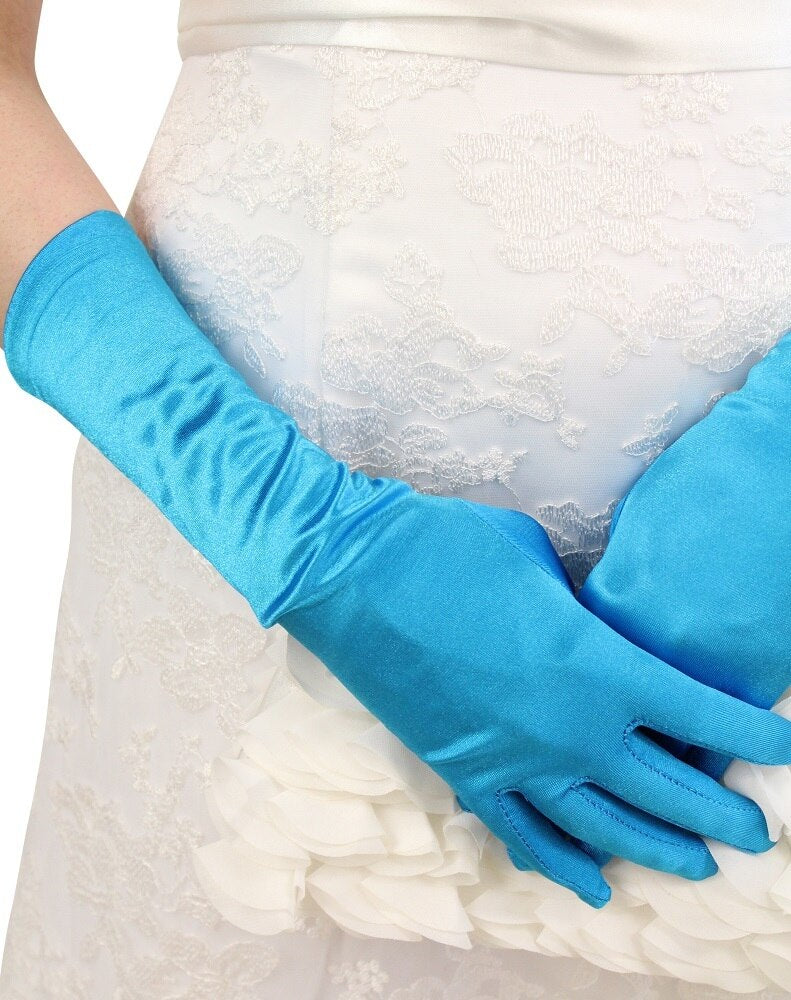 Turquoise Satin Gloves - Below Elbow Length