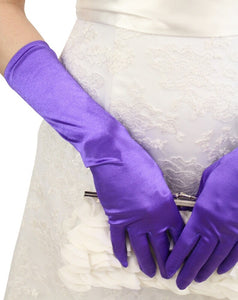 Purple Satin Gloves - Below Elbow Length