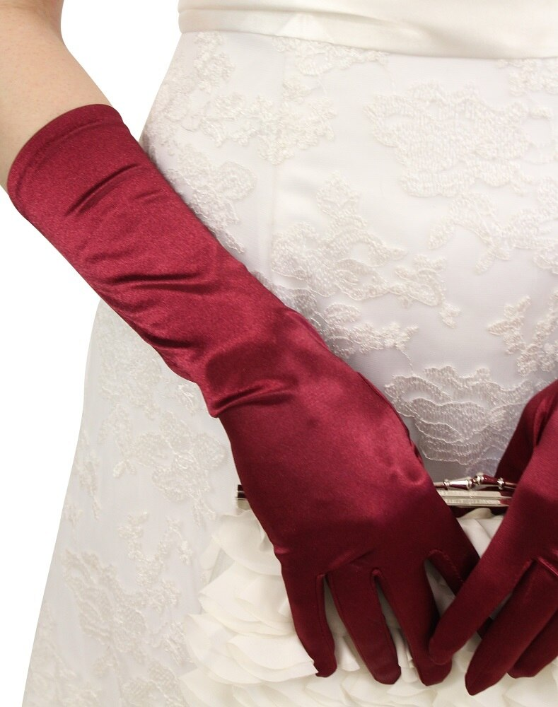 Wine Satin Gloves - Below Elbow Length