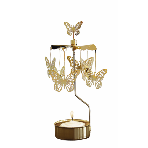 Gold Butterfly Rotary Candle Holder