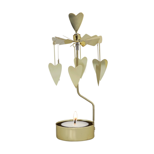 Gold Heart Rotary Candle Holder