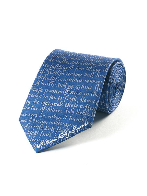 Fox & Chave Shakespeare Manuscript on Blue Tie