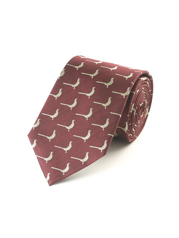 Fox & Chave Woven Gold Pheasant On Burgundy Tie