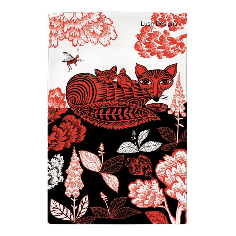 Fox & Cubs Tea Towel