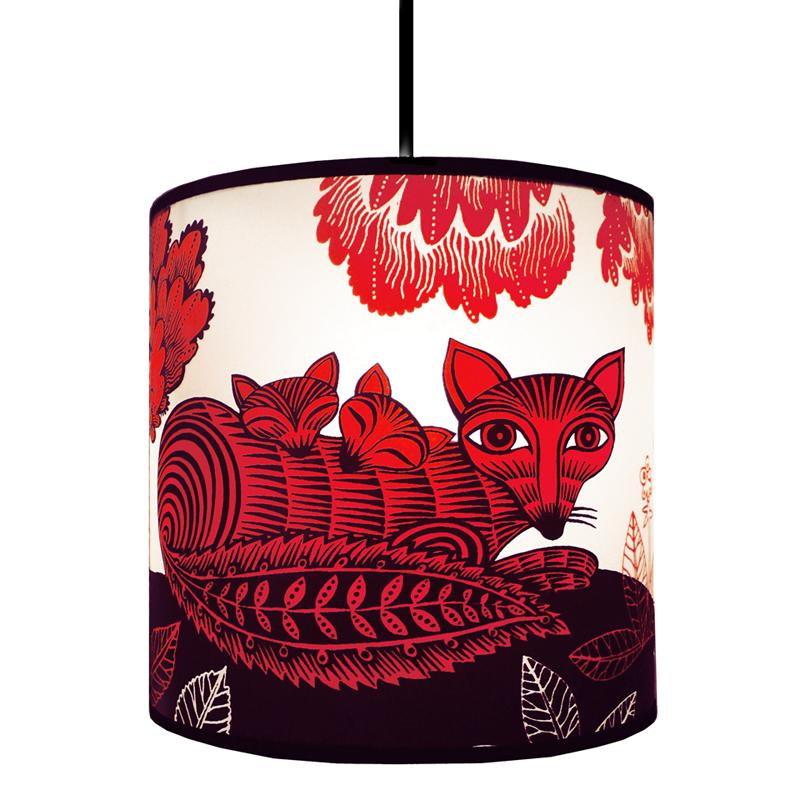 Fox & Cubs Red Lampshade