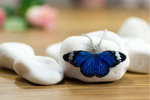 Acdria Dark Blue Tiger Butterfly Pendant