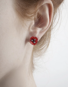 Michael Michaud Poppy Post Earrings With Freshwater Pearls