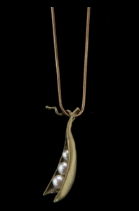Michael Michaud Pea Pod Necklace With Three Pearls