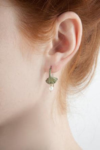 Michael Michaud Ginkgo Wire Earrings With Pearl Drop