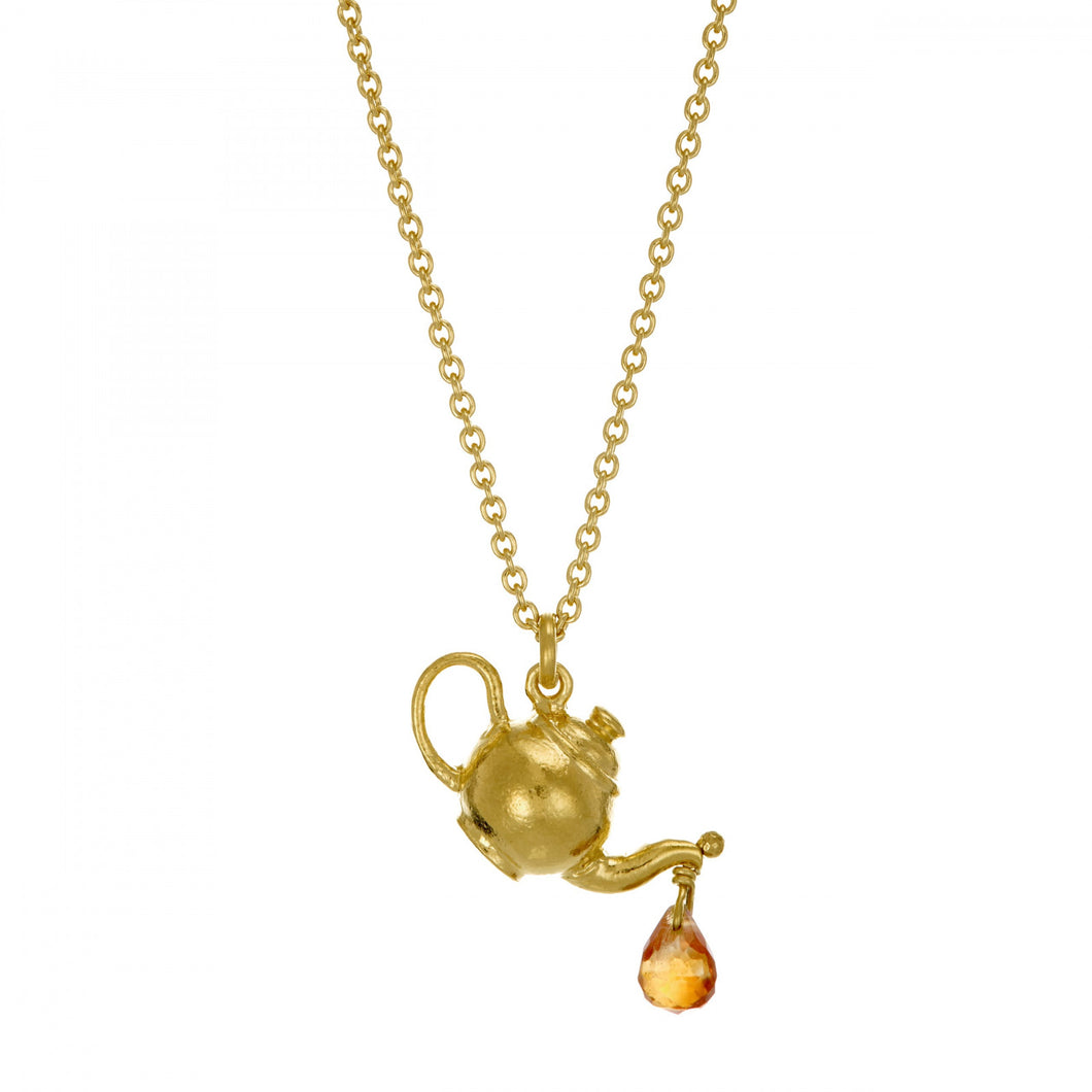 Alex Monroe Gold Teapot With Sapphire Drop Necklace