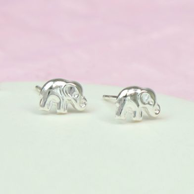 POM Sterling Silver Elephant Stud Earrings