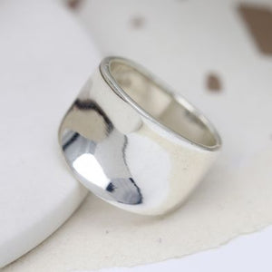 POM Sterling Silver Concave Chunky Band Ring