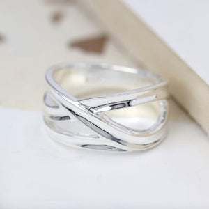 POM Sterling Silver Crossover Loop Ring