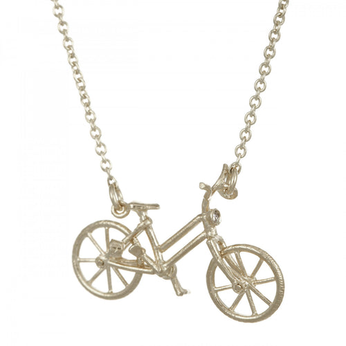 Alex Monroe Silver Vintage Bicycle Necklace With Diamond & Ruby Lights