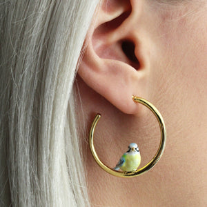Bill Skinner Blue Tit Hoop Earrings