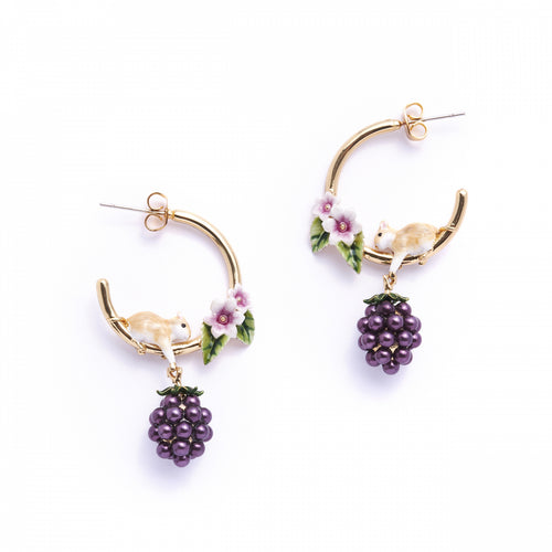 Bill Skinner Blackberry Mouse Hoop Earrings