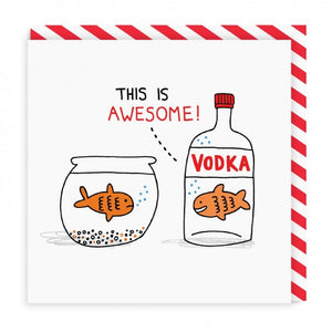 Gemma Correll Vodka Goldfish Square Greeting Card