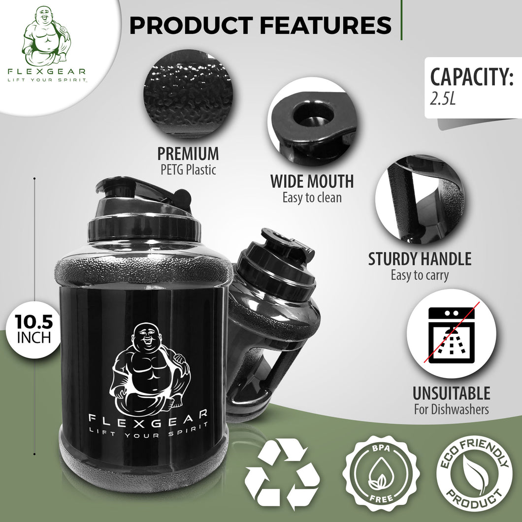 Large Water Bottle Big Sports Water Jug Mammoth Mug Huge Wide Mouth Water Bottle 2.5 Litre Men Handheld Fit Leakproof Jug Gym Canteen Travel Outdoor Camping Sturdy BPA-Free PETG Material
