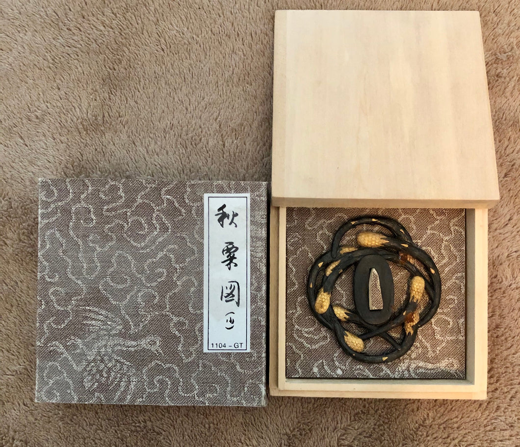 1104-GT Autumn Millet Tsuba for Wakizashi by Paul Chen Hanwei