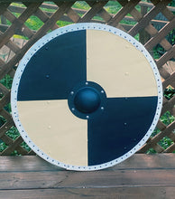"Load image into Gallery viewer, Hjalmar 30"" Round Viking Shield, Handmade and Hand Painted"