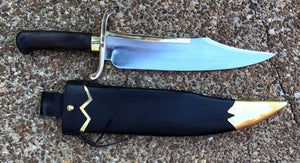 Handmade Musso Bowie Knife with Wooden Scabbard and Leather Frog