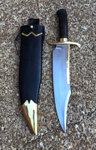 Load image into Gallery viewer, Handmade Musso Bowie Knife with Wooden Scabbard and Leather Frog
