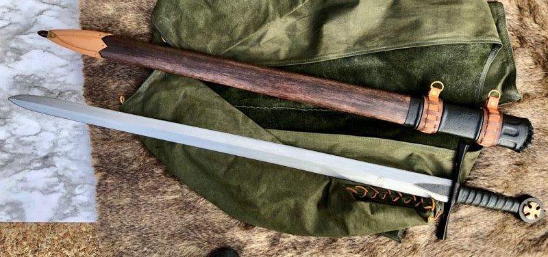 Handmade Battle Ready Crusader Sword, full tang with mounted cross.